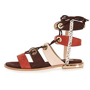 Brown eyelet gladiator sandals