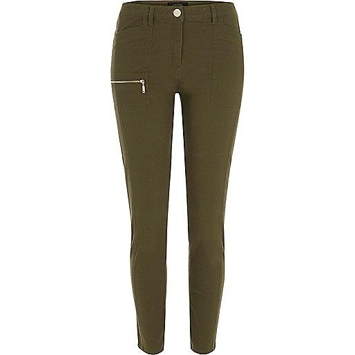 Khaki twill skinny trousers