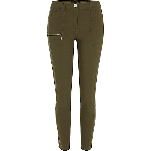 Khaki twill skinny pants