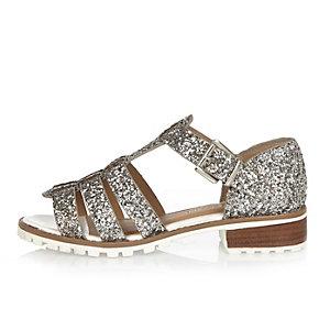 Silver glitter strappy geek sandals