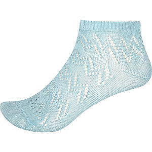 Light blue pointelle ankle socks