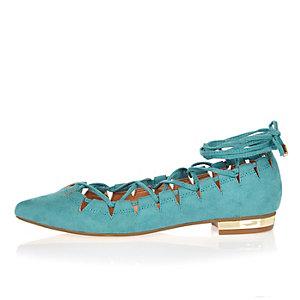 Blue cut out shoes