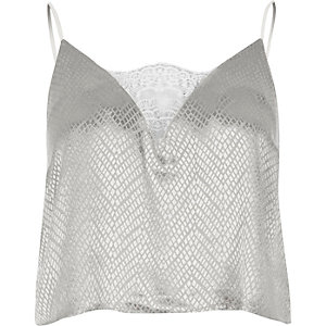 Grey jacquard cami pajama top