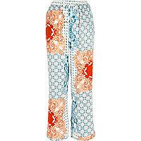 Blue floral print pyjama trousers