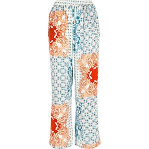 Blue floral print pajama pants