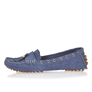 Purple tassel driving shoes