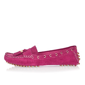 Pink suede tassel driving shoes
