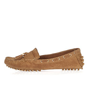 Tan suede tassel driving shoes