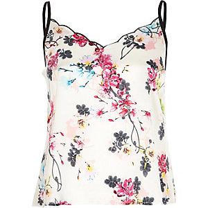 White floral print cami pajama top