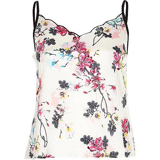Haut de pyjama caraco à fleurs blanc