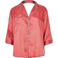 Bright pink jacquard pajama shirt