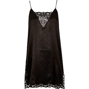 Black snake lace slip dress