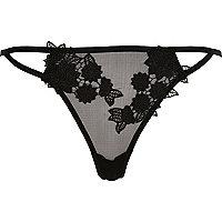 Schwarze Unterhose mit Blumenapplikation