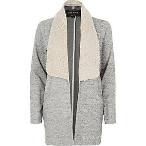 Grey fleece collar jacket
