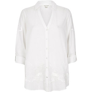 White cutwork shirt