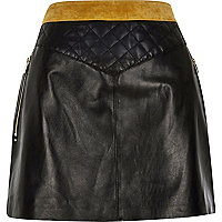 Black leather and suede quilted skirt