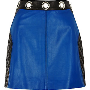 Black leather eyelet skirt