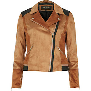 Dark beige patchwork biker jacket