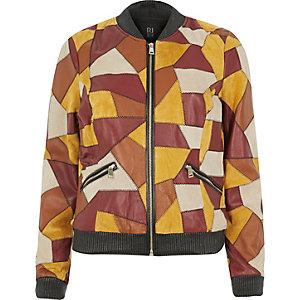 Light brown suede patchwork bomber jacket