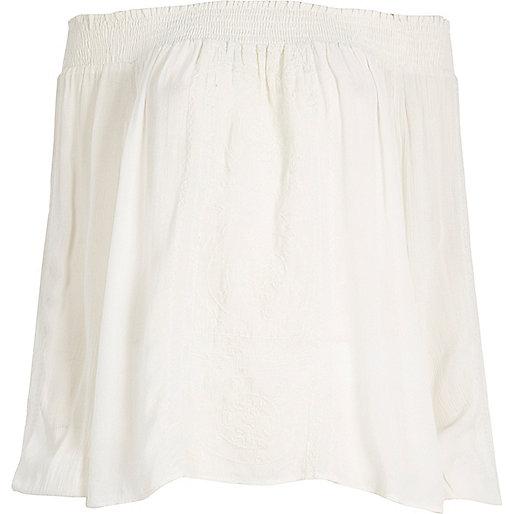 White embroidered festival bardot top