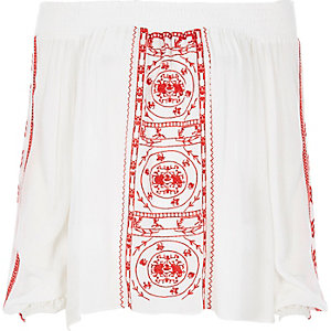 Red embroidered festival bardot top