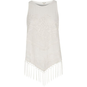 Cream tassel tank top