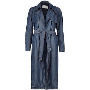 Blue tencel denim draped trench coat