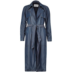 Blue tencel denim draped trench coat