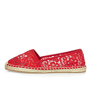 Red lace espadrille shoes