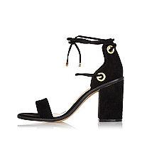Black tie-up block heel sandals
