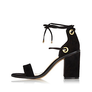 Black tie-up block heel sandals