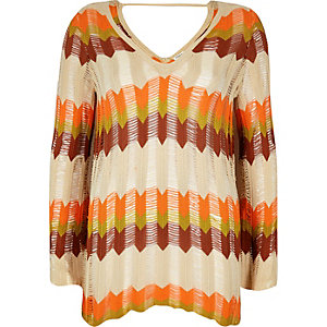 Orange print crochet sweater