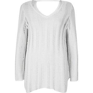 White crochet jumper