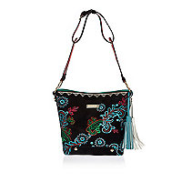 Black floral embroidered bucket handbag