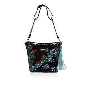 Black floral embroidered bucket handbag