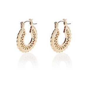 Gold tone filigree small hoop earrings
