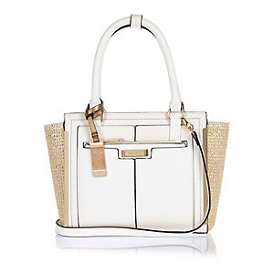 White mini winged tote bag