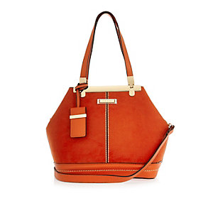 Orange suede bucket handbag