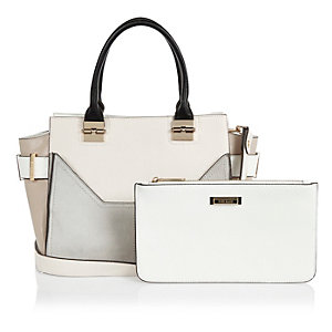 Beige structured tote and clutch handbag