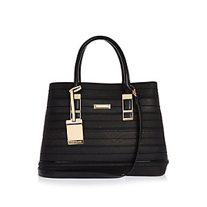 Black textured open tote