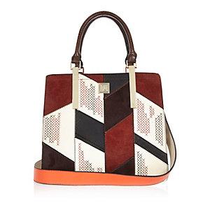 Red patchwork tote handbag