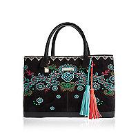 Black embroidered large tote handbag