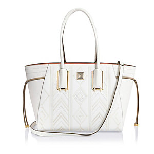 White embroidered tote handbag
