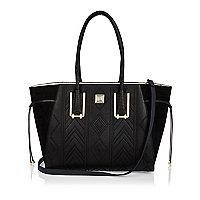 Black embroidered tote handbag