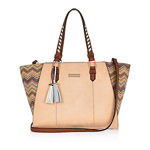 Pink zig zag winged tote handbag