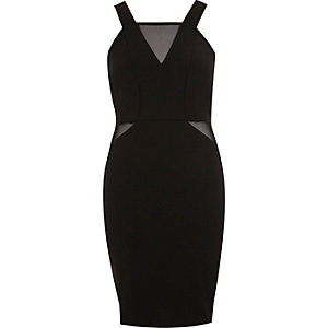 Black mesh insert bodycon dress