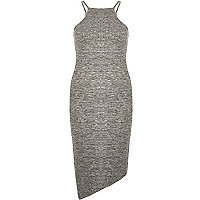 Grey bodycon asymmetric dress