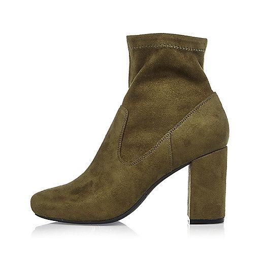 Khaki block heel ankle boots