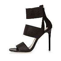Black strap heel sandals