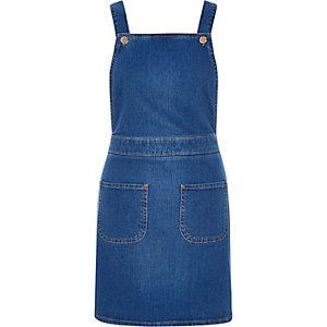 Bright blue denim overall pinafore dress